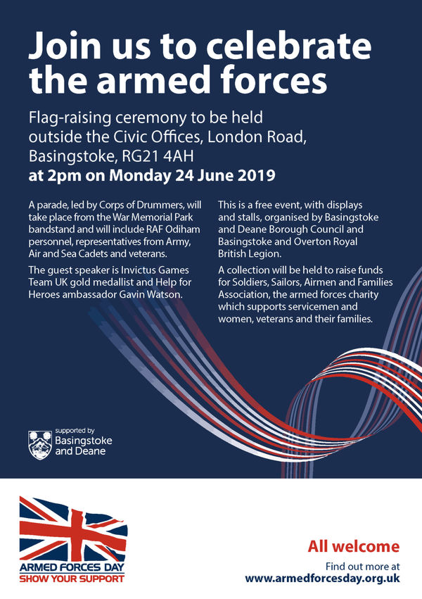 Armed Forces Day Celebrations and Flag Raising Ceremony  Monday 24 June 2019 at 2pm