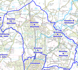 Map showing the boundary Bramley & Sherfield